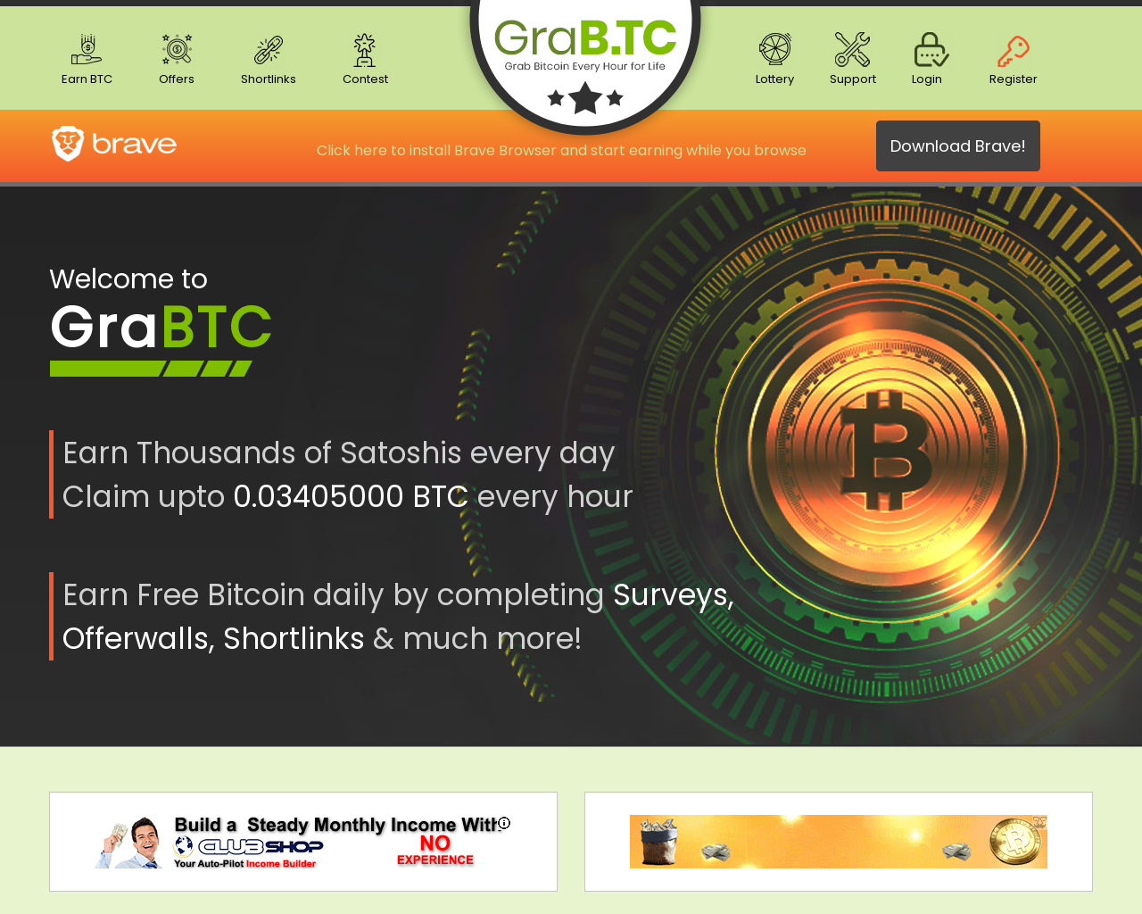 Grabtc Review Earn Bitcoin With Click Ads