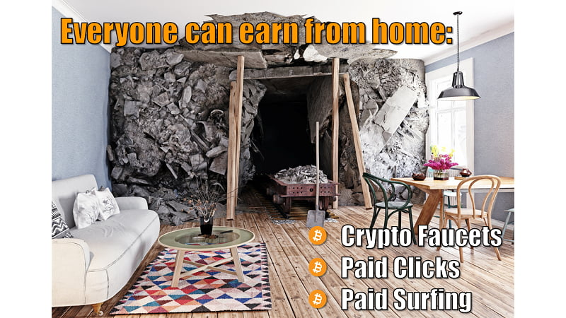 Everyone can earn Bitcoin from home with Bitcoin Faucets, Paid Clicks and Paid Surfing